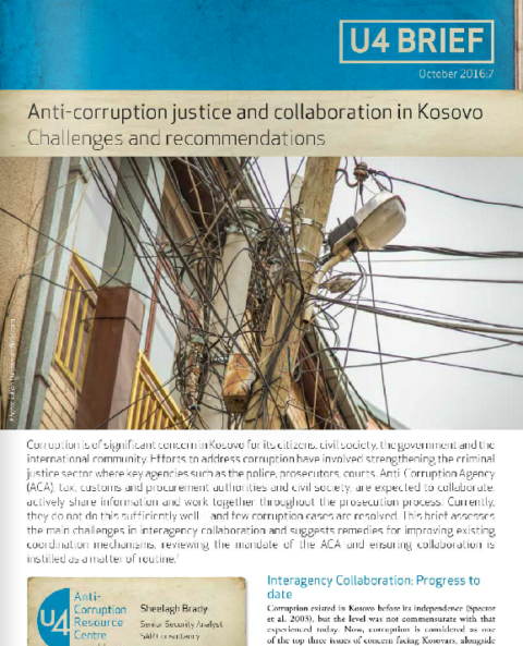 Anti-corruption justice and collaboration in Kosovo:  Challenges and recommendations
