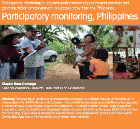 Participatory Monitoring to Improve Performance of Government Services and Promote Citizen Empowerment: A Success Story from The Philippines